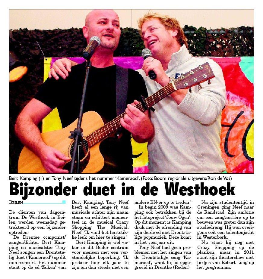 Bert Kamping en Tony Neef Westhoek-Krant van Midden Drenthe